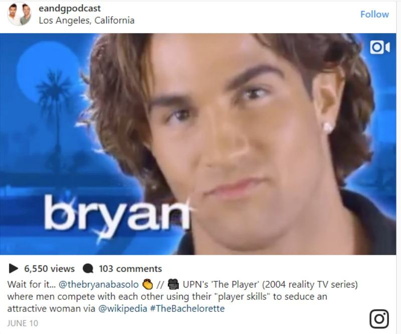 This is a screen grab of Bryan in a video promoting The Player.