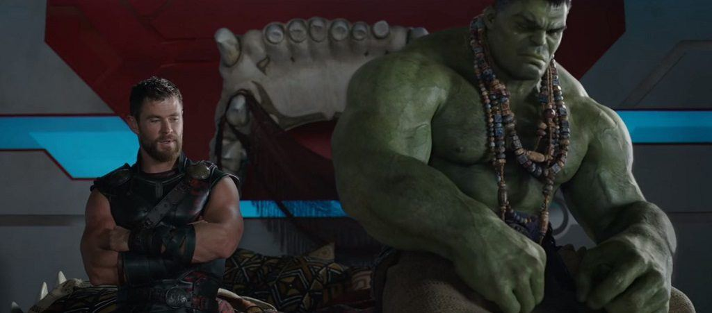 Thor and Hulk sitting next to each other in Thor: Ragnarok