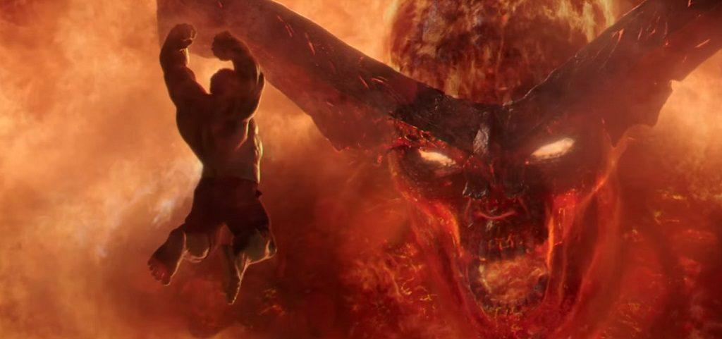 Hulk lunges at fire demon Surtur in Thor: Ragnarok