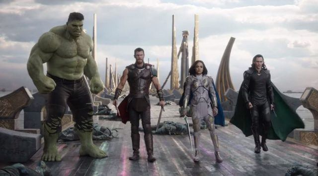 Hulk, Thor, Valkyrie, and Loki stand next to each other in Thor: Ragnarok.