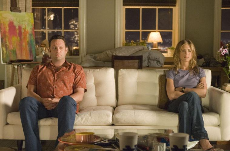 "Vince Vaughn and Jennifer Aniston share an awkward quiet moment -- like a couple prepping for a divorce -- in ""The Break-Up"""