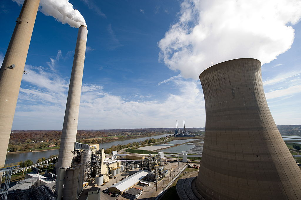 American Electric Power's (AEP) Mountaineer coal power plant, including cooling tower and stacks in New Haven, West Virginia
