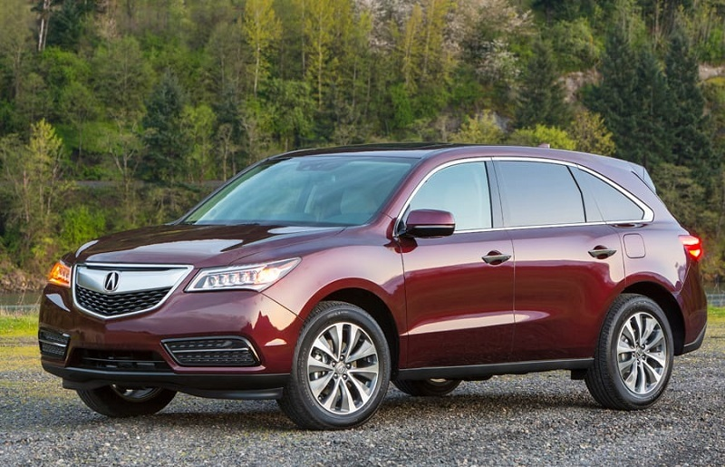 Front three-quarter view of maroon 2014 Acura MDX SUV