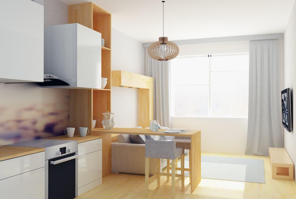 3D illustration of modern flat in Scandinavian style