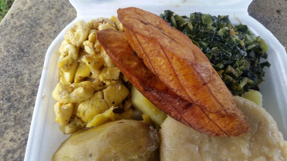 Ackee plantain and callaloo breakfast