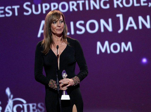 Allison Janney making an acceptance speech for an award at the Gracie's.