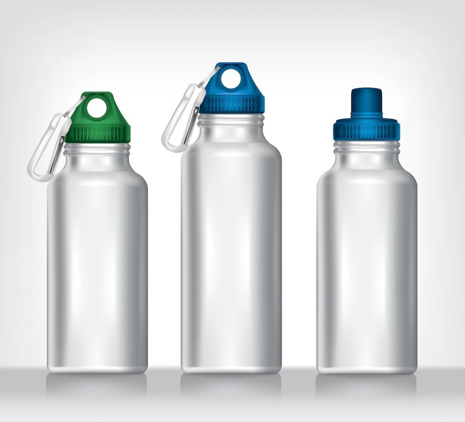 Aluminum bottle water isolated white background