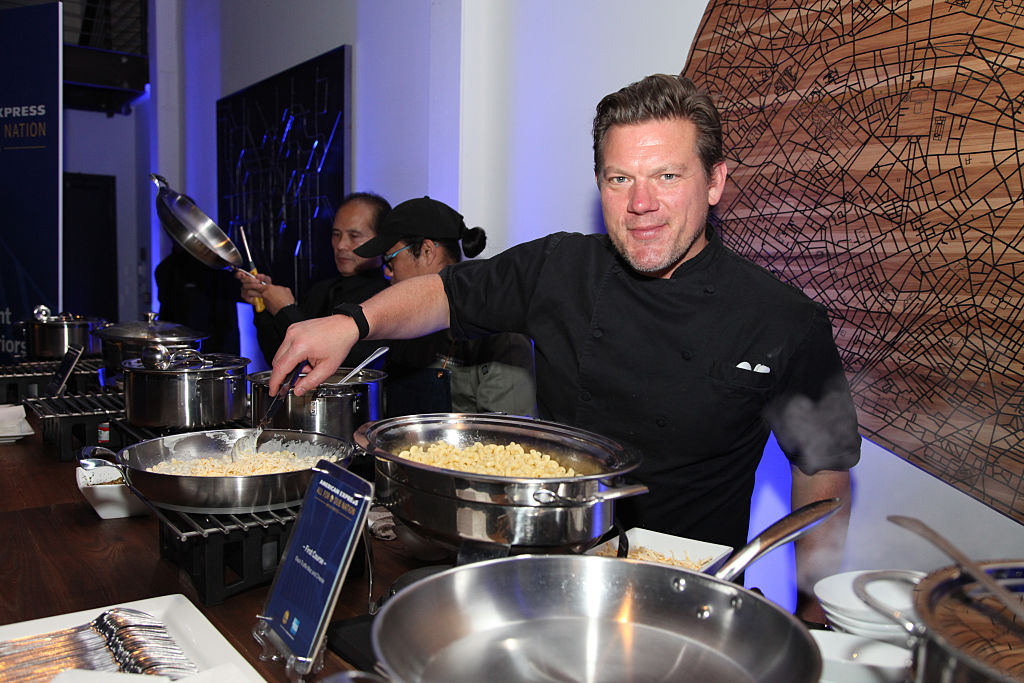 """Chef Tyler Florence preps the menu at the first American Express """"All for Dub Nation"""""""