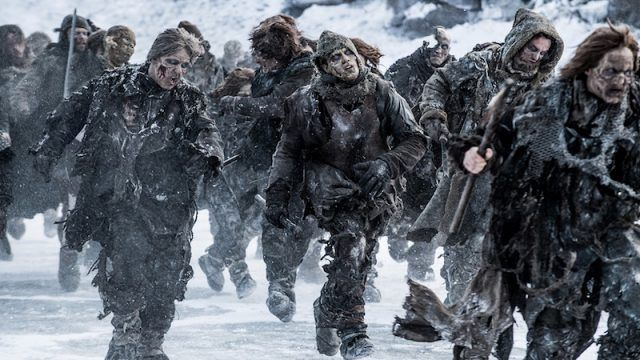 The White Walkers army walks together in the snow