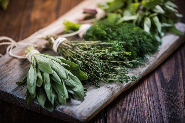 Basil, sage, dill, and thyme herbs on a wooden board.
