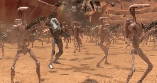 The battle droids hold up guns in a battle scene in 'Star Wars: The Clone Wars'.