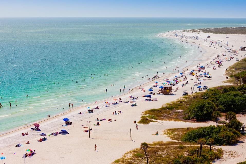Summer Crowd on Lido Beach, Siesta Key, Sarasota, Florida
