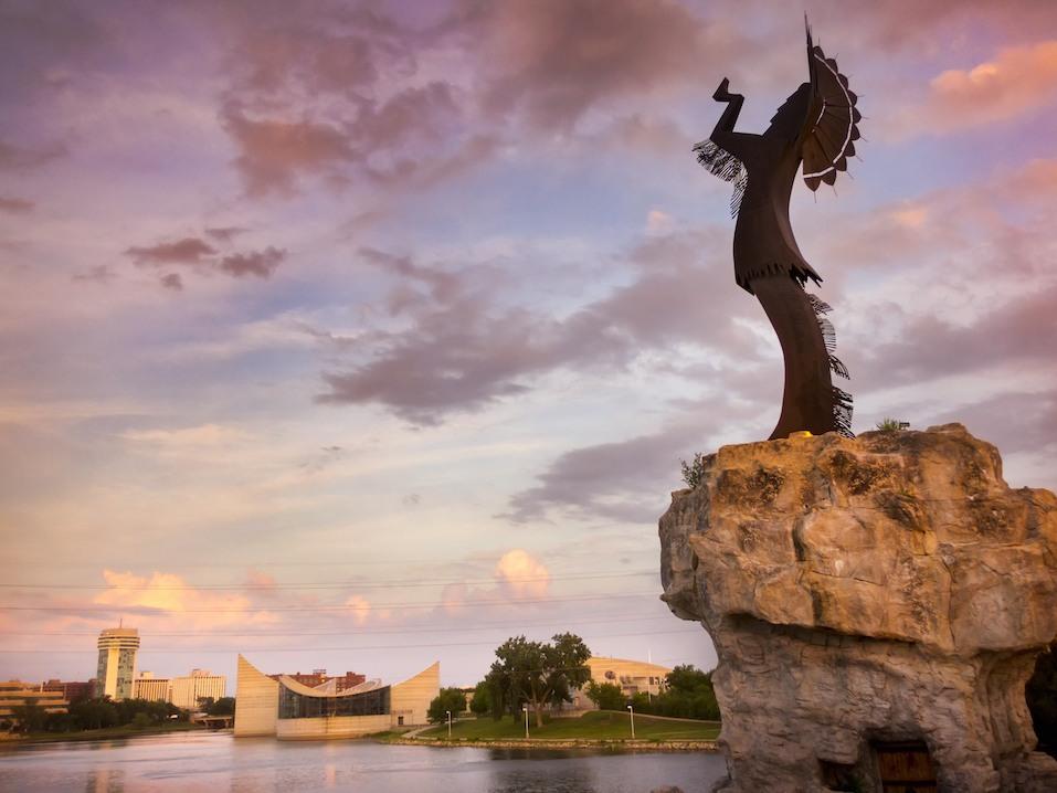 A warm, beautiful sunset along the Arkansas River in Wichita, Kansas