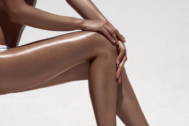 Beautiful woman tan legs