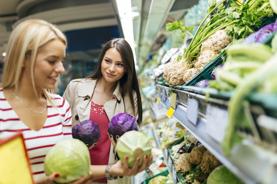 Beautiful women shopping vegetables and fruits