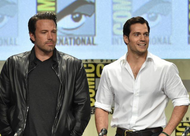 Ben Affleck and Henry Cavill speaking at a panel at Comic Con 2014
