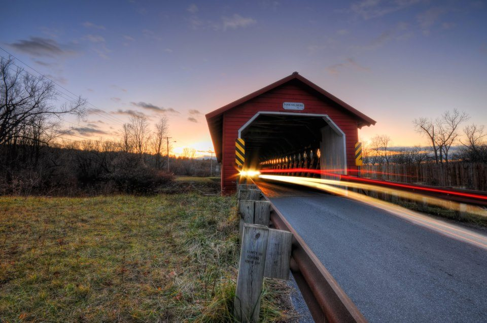 A covered bridge in Bennington, Vermont -- a marquee college town