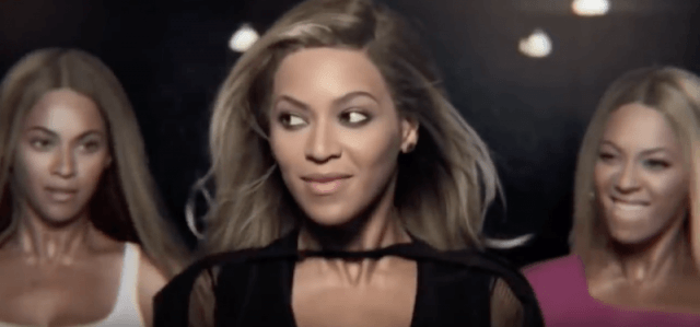 Beyonce stands with her music video personas in the Pepsi commercial.