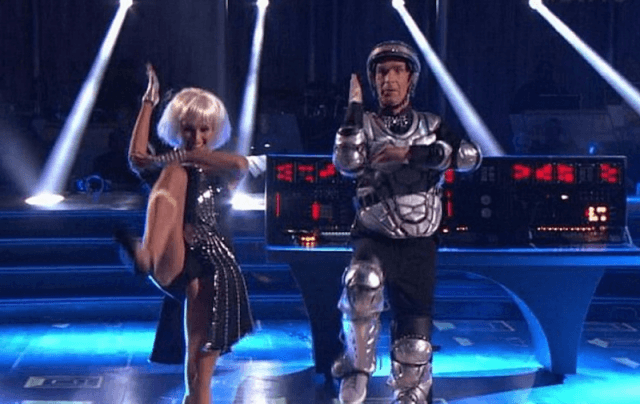 Billy Nye and Tyne Stecklein doing a robot routine.