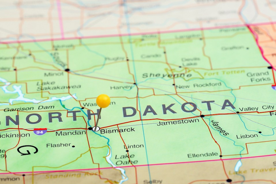 pinned Bismarck on a map of North Dakota