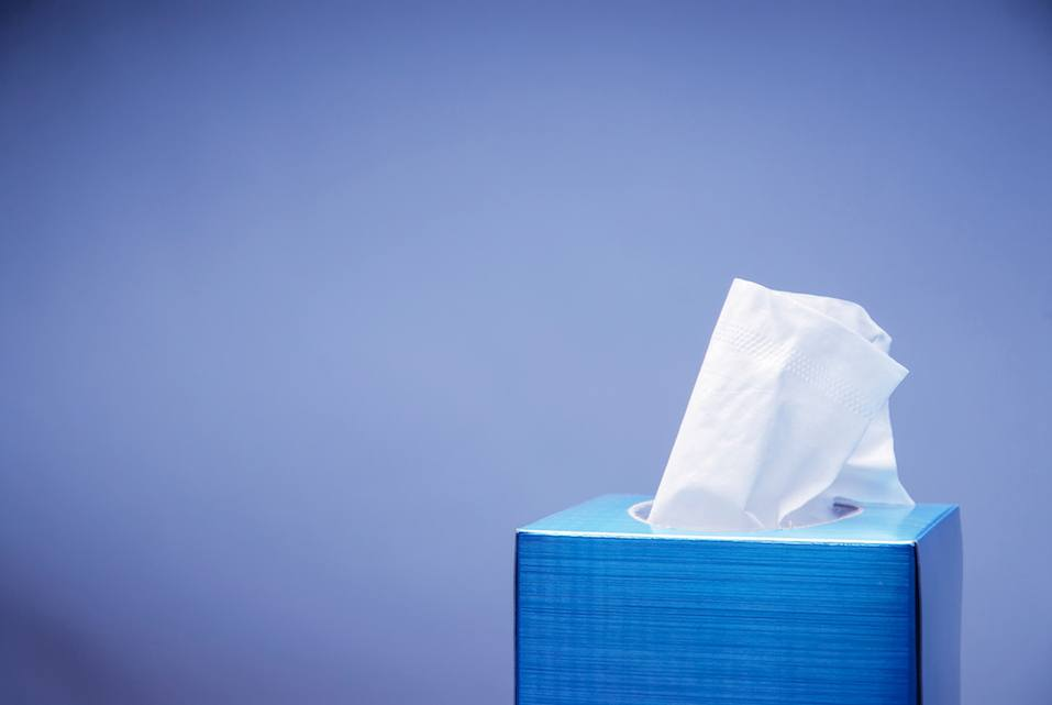 box of tissues in a blue box