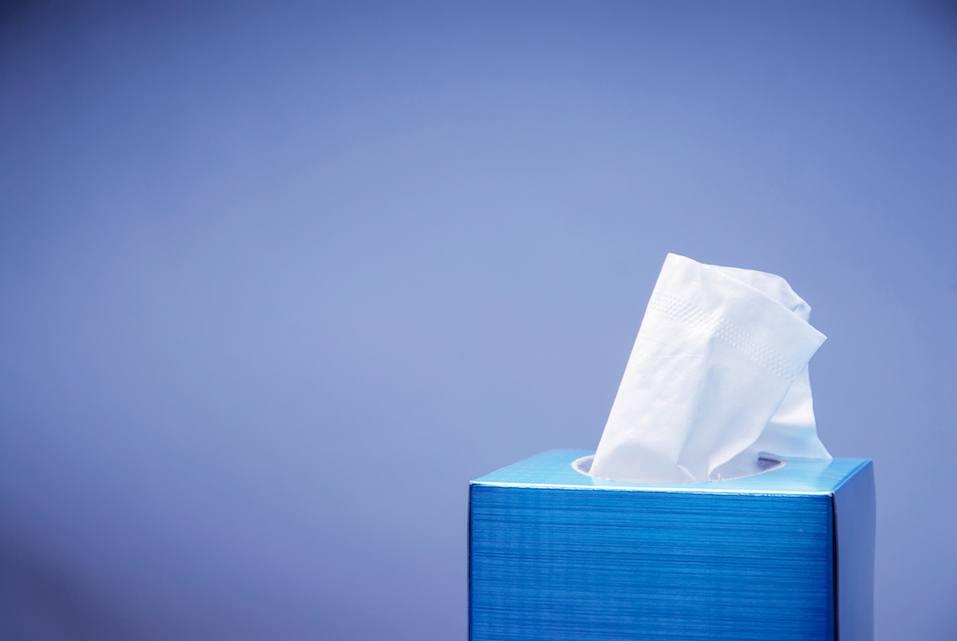 blue box of tissue