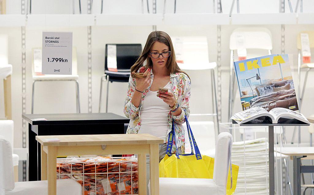 A customer shops at the newly opened IKEA store near Zagreb