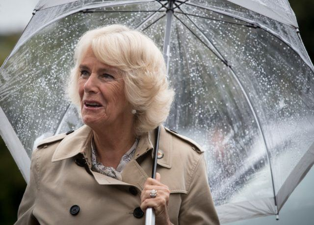 Camilla Parker holding an umbrella in the rain.