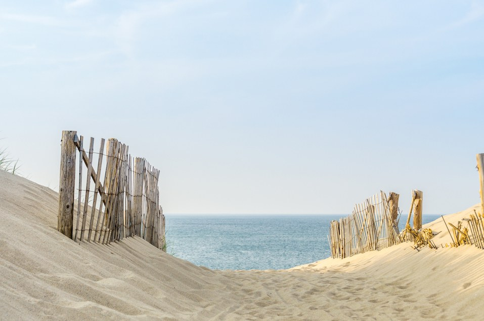 two fences frame the pathway to the beach at Provincetown Massachusetts