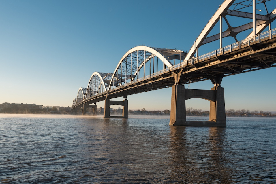 Centennial Bridge Crosses the Mississippi River