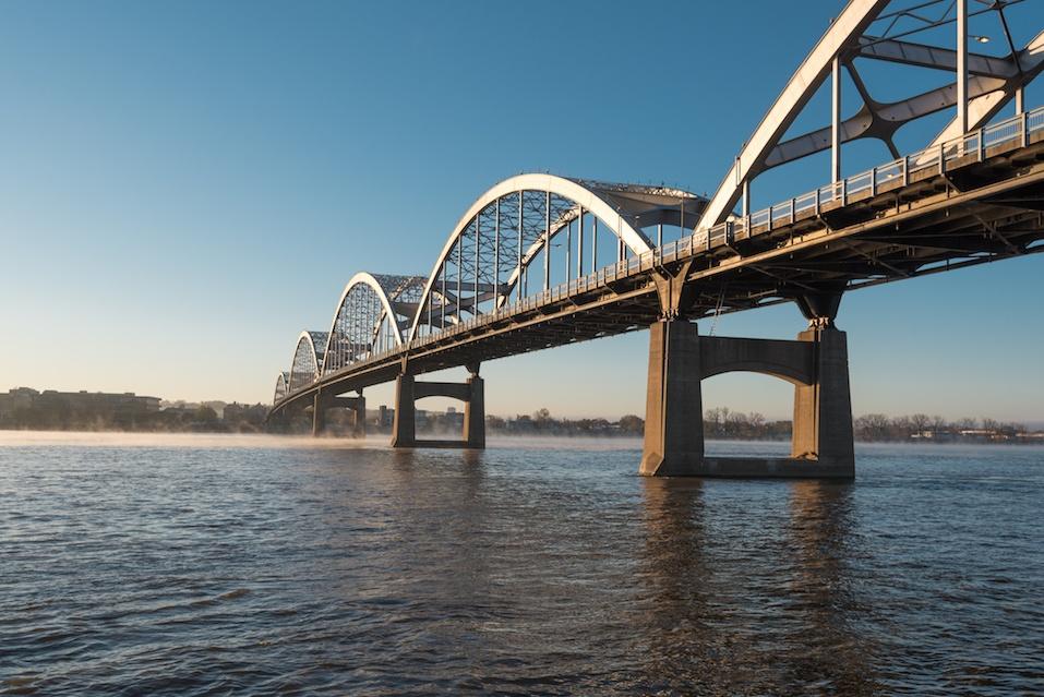 Centennial Bridge Crosses the Mississippi River