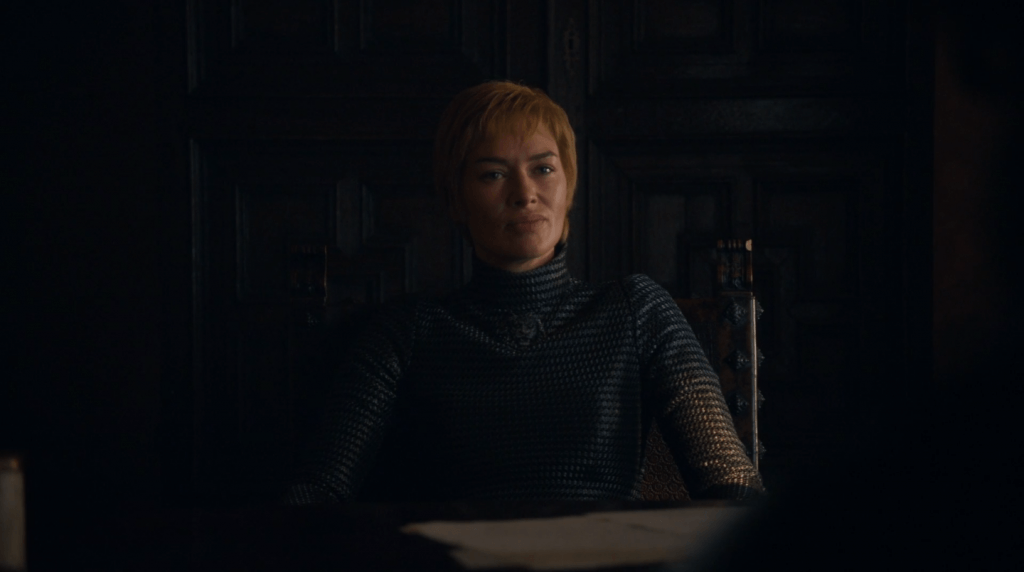 Cersei speaks with Tyrion on Game of Thrones.