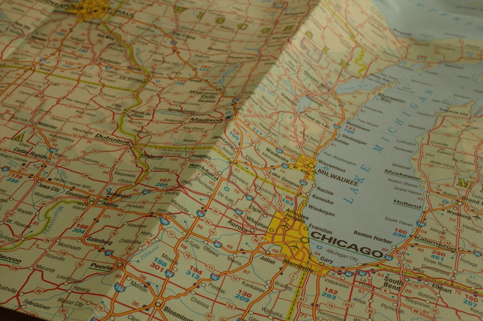 city of Chicago on a travel map