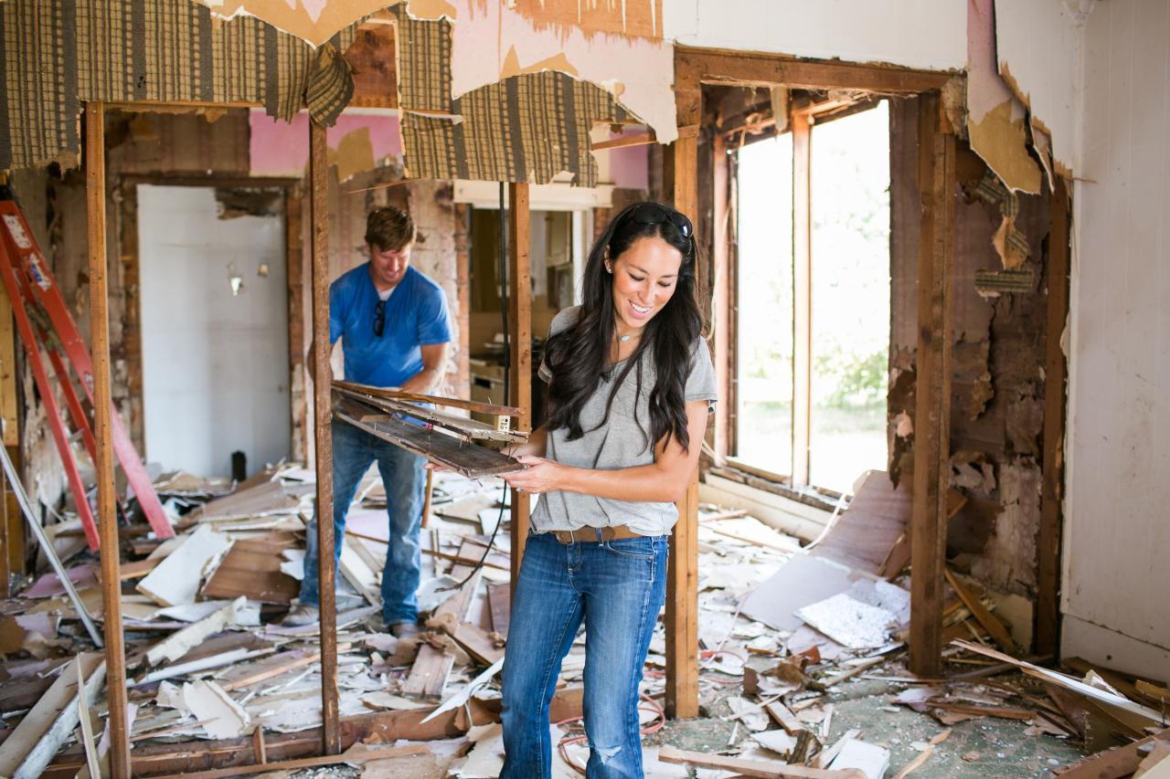 Chip and Joanna Gaines during demo day on HGTV's 'Fixer Upper'
