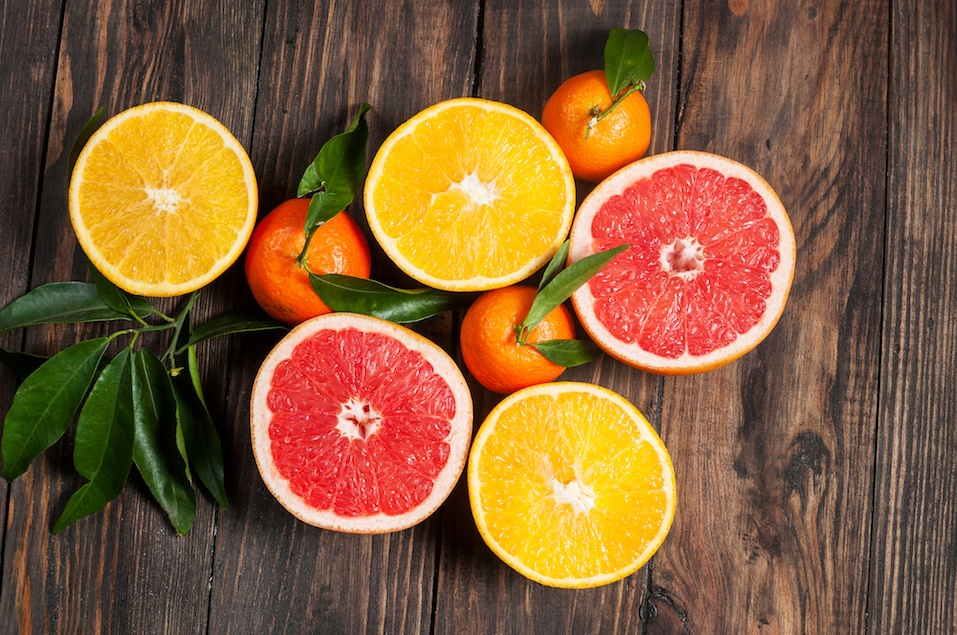 Citrus fruits. Oranges, grapefruits and mandarins