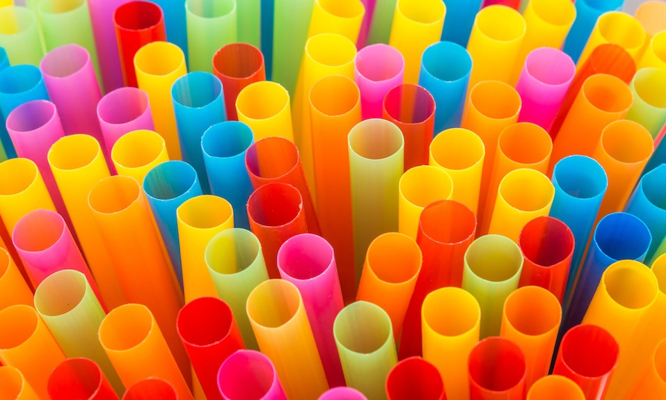Colorful drinking straws background.