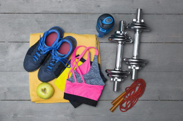 Colorful fitness clothes and equipment.