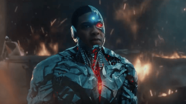 Cyborg in 'Justice League' standing and staring straight ahead.