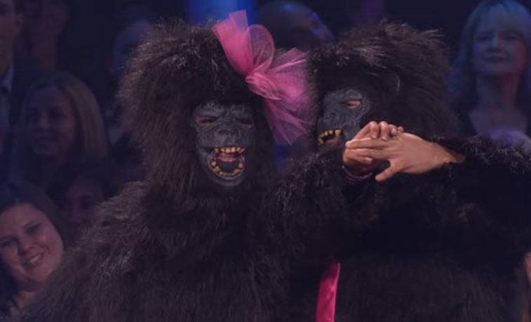 Bristol Palin and Mark Ballas in monkey suits for their DWTS routine.