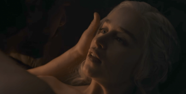 Daenerys looks up at Jon Snow