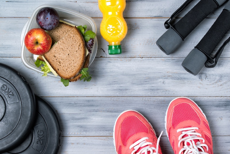 sneakers, weight plates, dumbbells, sandwich
