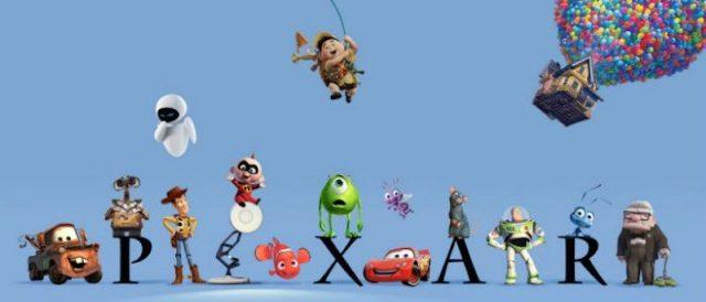 Disney Pixar characters stand around the Pixar logo in front of a blue background