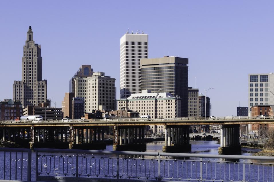 Downtown Providence skyline from Point Street Bridge