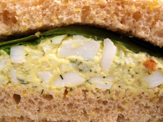 Egg salad sandwich and bread.