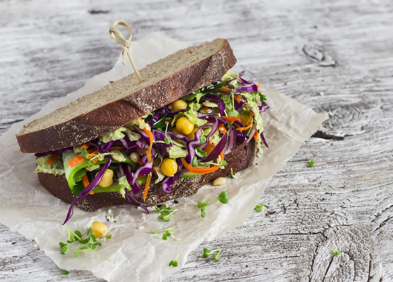 sandwich with lots of veggies