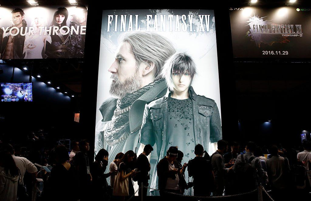 Visitors Wait by Final Fantasy XV ad