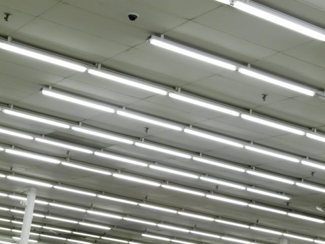 Fluorescent lights at a supermarket.