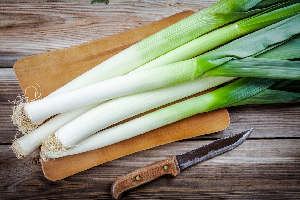 Fresh raw organic leek