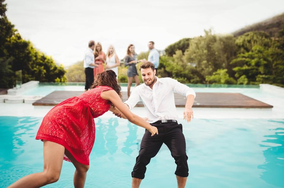Friends having fun at swimming pool