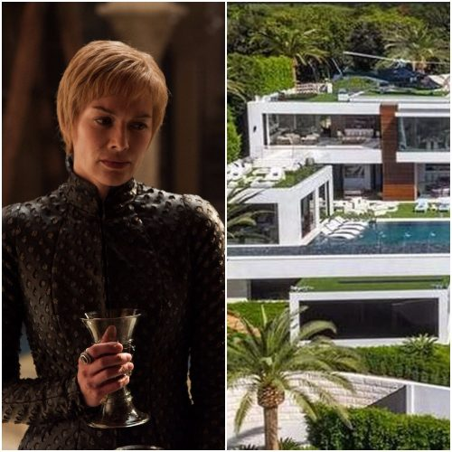 Left: Game of Thrones character Cersei Lannister, Right: Bel Air mansion